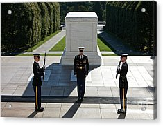 Changing Of Guard At Arlington National Acrylic Print by Terry Moore