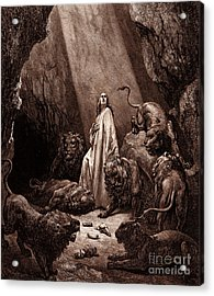 Daniel In The Den Of Lions Acrylic Print by Gustave Dore