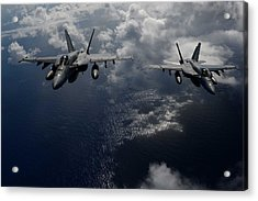 F A-18e Super Hornets Participate In An Air Power Demonstration Acrylic Print by Celestial Images