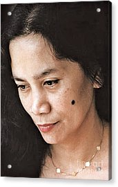 Filipina Beauty With A Mole On Her Cheek Acrylic Print by Jim Fitzpatrick