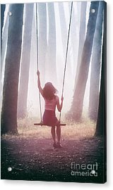 Girl In Swing Acrylic Print by Carlos Caetano