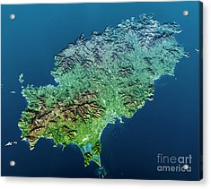 Ibiza Island Topographic Map 3d View Color  Acrylic Print by Frank Ramspott