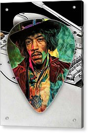 Jimi Hendrix Guitar Pick Collection Acrylic Print by Marvin Blaine