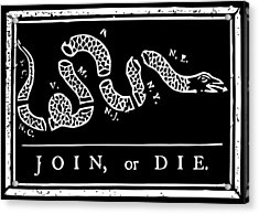 Join Or Die Acrylic Print by War Is Hell Store