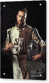 Medieval Knight In Armour Acrylic Print by Amanda And Christopher Elwell