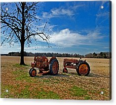 2 Old Tractors And The Tree Acrylic Print by Michael Thomas
