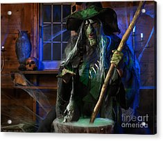 Scary Old Witch With A Cauldron Acrylic Print by Oleksiy Maksymenko