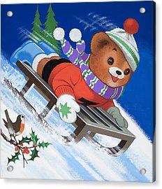 Teddy Bear Sleigh Ride Acrylic Print by William Francis Phillipps