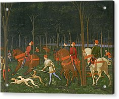 The Hunt In The Forest Acrylic Print by Paolo Uccello