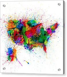 United States Paint Splashes Map Acrylic Print by Michael Tompsett