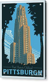 Vintage Style Pittsburgh Travel Poster Acrylic Print by Jim Zahniser