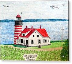 West Quoddy Head Lighthouse Acrylic Print by Frederic Kohli