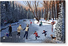 Winter Fun At Bowness Park Acrylic Print by Neil Woodward