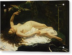 Woman With A Parrot Acrylic Print by Gustave Courbet