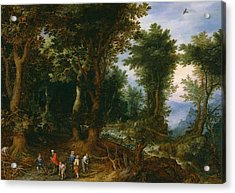 Wooded Landscape With Abraham And Isaac Acrylic Print by Jan Brueghel the Elder