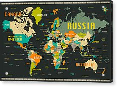 World Map Acrylic Print by Jazzberry Blue
