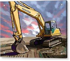 2004 Komatsu Pc200lc-7 Track Excavator Acrylic Print by Brad Burns