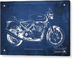 2012 Norton Commando 961 Cafe Racer Motorcycle Blueprint - Blue Background Acrylic Print by Pablo Franchi