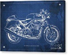 2012 Norton Commando 961 Sport Blueprint Classic Motorcycle Blue Background Acrylic Print by Pablo Franchi