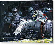 2015 Williams Fw37 F1 Pit Stop Spain Gp Massa  Acrylic Print by Yuriy Shevchuk