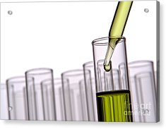 Scientific Experiment In Science Research Lab Acrylic Print by Olivier Le Queinec
