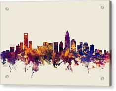 Charlotte North Carolina Skyline Acrylic Print by Michael Tompsett