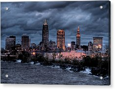 Cleveland Skyline At Dusk From Edgewater Park Acrylic Print by At Lands End Photography