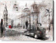 Digital-art London Composing Acrylic Print by Melanie Viola