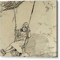 Girl On A Swing Acrylic Print by Winslow Homer