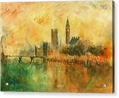 London Watercolor Painting Acrylic Print by Juan  Bosco