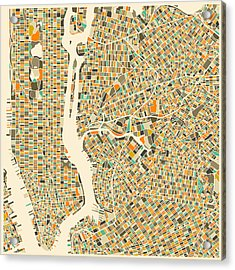 New York Map Acrylic Print by Jazzberry Blue