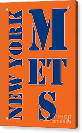 New York Mets Typography Acrylic Print by Pablo Franchi