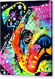 Peeking Bulldog Acrylic Print by Dean Russo