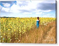 Sunflowers Acrylic Print by Andrew Michael