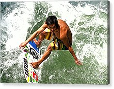 Surfer Acrylic Print by Andrew Michael