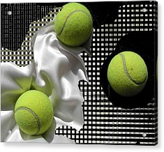 3 Tennis Balls Acrylic Print by Evguenia Men