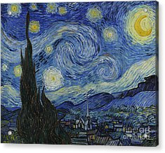 The Starry Night Acrylic Print by Vincent Van Gogh