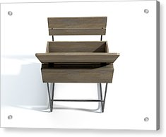 Vintage School Desk Open Empty Acrylic Print by Allan Swart