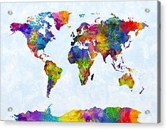 Watercolor Map Of The World Map Acrylic Print by Michael Tompsett