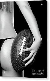 Woman With A Football Acrylic Print by Oleksiy Maksymenko