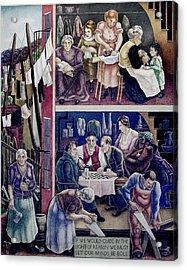 Wpa Mural. Society Freed Through Acrylic Print by Everett