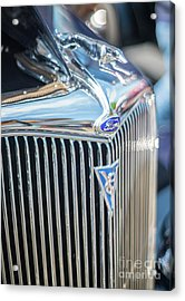 30s Vintage Ford Radiator And Chrome Greyhound Acrylic Print by Mike Reid