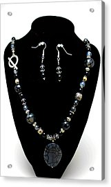 3545 Black Cracked Agate Necklace And Earring Set Acrylic Print by Teresa Mucha