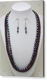 3562 Triple Strand Freshwater Pearl Necklace Set Acrylic Print by Teresa Mucha