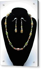 3565 Unakite Necklace And Earrings Set Acrylic Print by Teresa Mucha