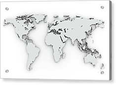3d Silver World Map Acrylic Print by Chen Hanquan