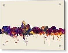 Albuquerque New Mexico Skyline Acrylic Print by Michael Tompsett