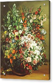 Bouquet Of Flowers In A Vase Acrylic Print by Gustave Courbet
