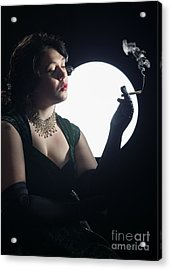 Film Noir Smoking Woman Acrylic Print by Amanda And Christopher Elwell