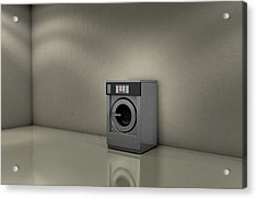 Industrial Washer In Empty Room Acrylic Print by Allan Swart